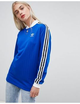 Adidas Originals Three Stripe T Shirt In Blue With Logo Print Back by Adidas