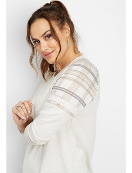 Plus Size Plaid Shoulder Pullover by Maurices