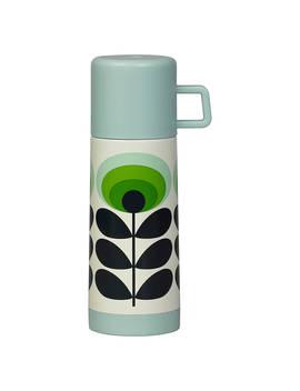 Orla Kiely 70s Oval Flower Flask, Green/Multi, 350ml by Orla Kiely