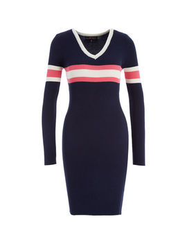 Navy Ribbed Jumper Dress by Lu Nyc