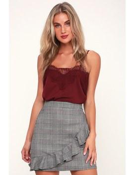 Jeffree Grey Plaid Ruffled Mini Skirt by Lulus