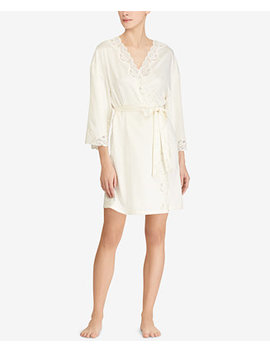 Lauren Ralph Satin Lauren Lace Trim Wrap Rope by Lauren Ralph Lauren