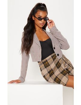 Brown Check Cropped Blazer Top by Prettylittlething