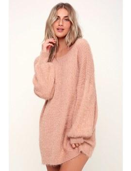 Slater Blush Pink Fuzzy Sweater Dress by Lulus