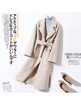 100 Percents Pure Wool Women Overcoat 2018 New Arrive V Neck Loog Maxi Coat Female Autumn Winter Warm Elegant Loose Jacket With Belt by Szdyqh