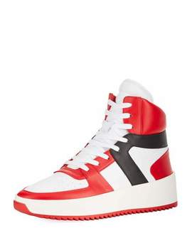 Men's Tricolor Leather High Top Basketball Sneakers by Fear Of God