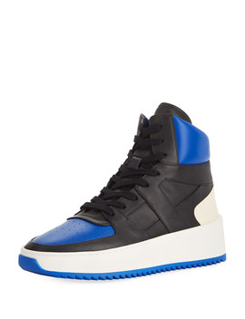 Men's Two Tone Leather High Top  Basketball Sneakers, Black/Blue by Fear Of God