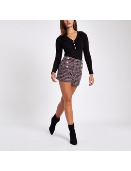 Red Check Diamante Pearl Embellished Shorts by River Island