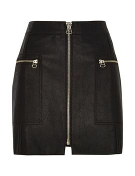Petite Black Leather Zip Front Mini Skirt by River Island