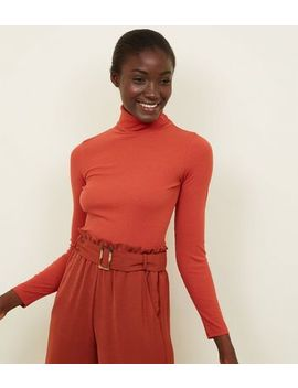 Orange Ribbed Roll Neck Top by New Look