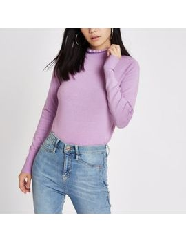 Purple Frill High Neck Long Sleeve Turtleneck by River Island