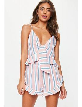Pink Stripe Tie Front Cami Frill Pyjama Set by Missguided