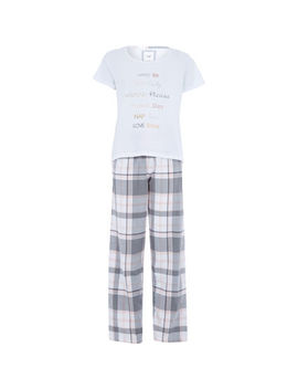 White & Grey Checked Pyjamas by Dream & Lounge