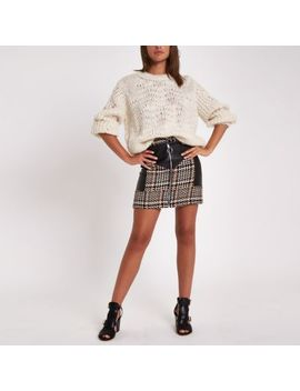 Brown Check Faux Leather Block Mini Skirt by River Island