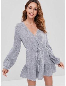 Surplice Long Sleeve Sweater Dress   Gray S by Zaful