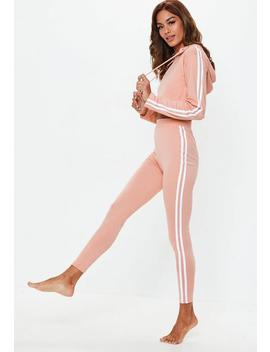 Pink Long Sleeve Cropped Stripe Lounge Set by Missguided