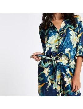 Blue Floral Print Jacquard Tie Front Shirt by River Island