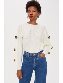 Button Sleeve Jumper by Topshop