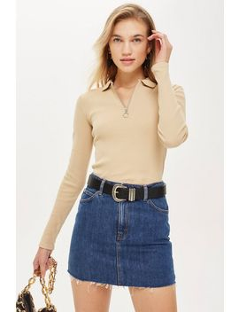 Long Sleeve Zip Polo by Topshop