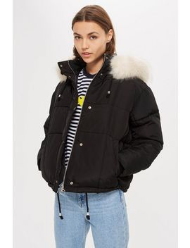 Petite Faux Fur Lined Quilted Puffer Jacket by Topshop