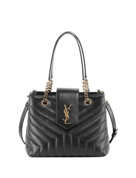 Monogram Ysl Loulou Small Quilted Leather Tote Bag   Lt. Bronze Hardware by Saint Laurent