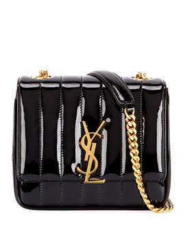 Vicky Monogram Ysl Small Quilted Patent Leather Crossbody Bag by Saint Laurent