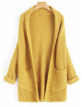 Curled Sleeve Batwing Open Front Cardigan   Mustard by Zaful