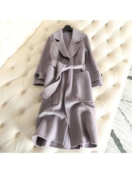 100 Percents Cashmere 2018 Autumn New Double Faced Cashmere Coat Alpaca Anti Season Coat Women's Long Wool Coat Slim Female Overcoat by Qian Si Chen