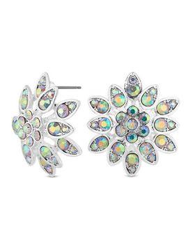Mood   Silver Aurora Borealis Crystal Stud Earings by Mood