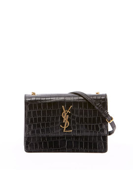 Monogram Ysl Sunset Small Chain Croco Shoulder Bag by Saint Laurent