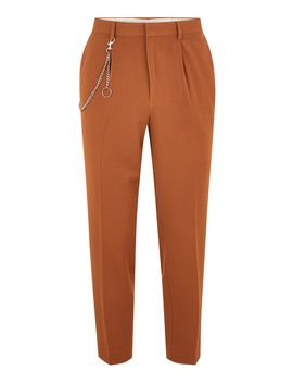 Tan Tapered Pants With Chain by Topman