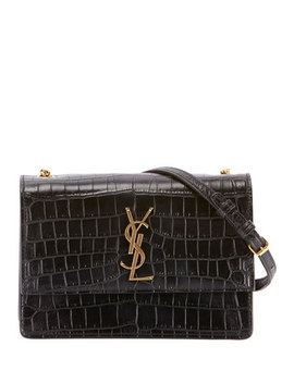 Monogram Ysl Sunset Medium Croco Effect Shoulder Bag by Saint Laurent