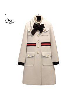 2018 Sping Coat Women Bow Slim Pocket Wool Winter Jacket Women Slim Woolen Long Cashmere Coats Cardigan Jackets Elegant Blend by Qian Si Chen