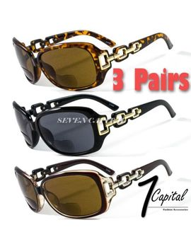 3 Pairs Womens Rhinestone Designer Reader Reading Power Retro Bifocal Sunglasses by Seven Capital