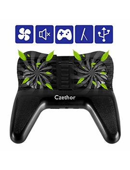 Phone Cooling Pad Czethor 3 In 1 Cooling Fan Stand Holder With 2200m Ah Portable Charger External Battery Suitable For Watching Tv Mobile Games Pubg/Knives Out/Rules Of Survival by Czethor