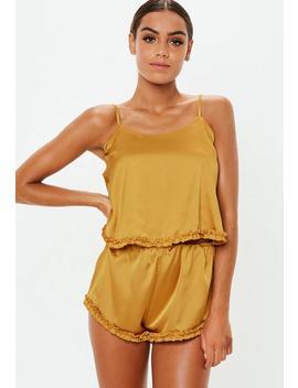 Mustard Ruffle Satin Cami Pyjama Short Set by Missguided