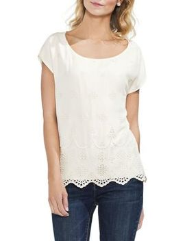 Topic Heat Extend Shoulder Eyelet Blouse by Vince Camuto