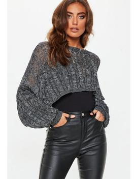 Black Crop Sparkle Cable Sweater by Missguided