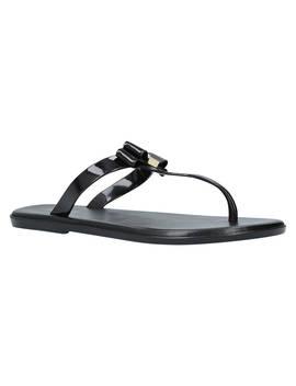 Michael Michael Kors Caroline Double Bow Flip Flops, Black Patent by Michael Kors