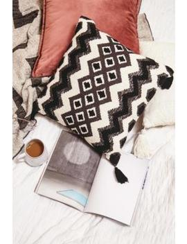 Boho Black And White Tassel Cushion by Urban Outfitters