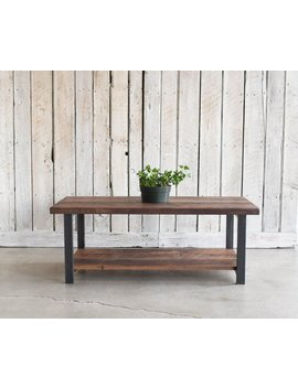 Coffee Table With Lower Shelf / Industrial Reclaimed Wood Coffee Table by Etsy