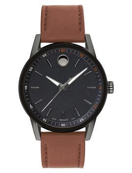 Leather Strap Watch, 42mm by Movado