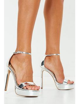 Silver Simple Strap Platform Sandals by Missguided
