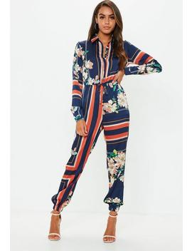 Blue Printed Long Sleeve Utility Jumpsuit by Missguided