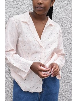 Pale Pink Silk Eyelet Lace Blouse. by Etsy
