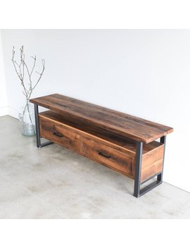 Media Console Made From Reclaimed Wood / Industrial Tv Stand / Modern Media Cabinet by Etsy
