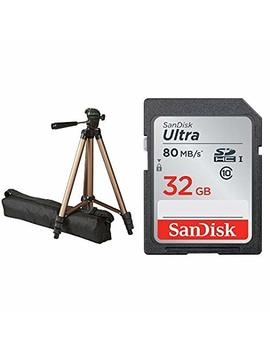 Amazon Basics 50 Inch Lightweight Tripod With Bag And San Disk 32 Gb Ultra Class 10 Memory Card Bundle by Amazon Basics