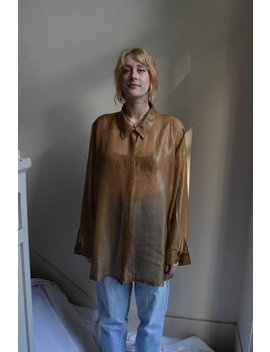 Sheer Golden Long Sleeve Blouse by Etsy
