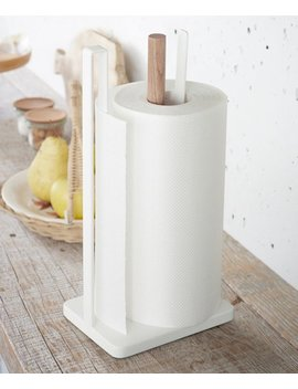 White Tosca One Handed Tear Paper Towel Holder by Yamazaki