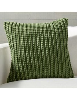 """Cosatti Green Velvet Pillow With Feather Down Insert 18"""" by Crate&Barrel"""